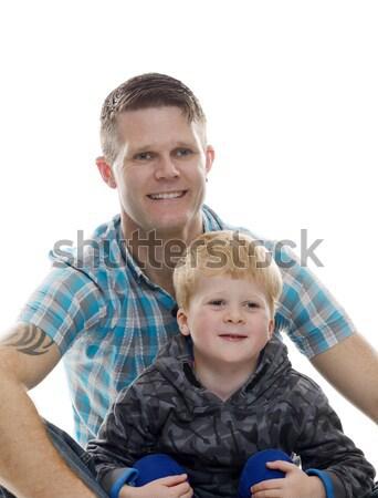 Gülen baba oğul mutlu birlikte aile yalıtılmış Stok fotoğraf © KMWPhotography