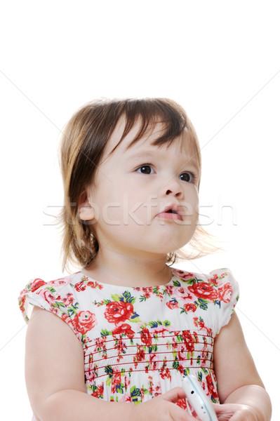 Kız genç bebek bakıyor yüz Stok fotoğraf © KMWPhotography