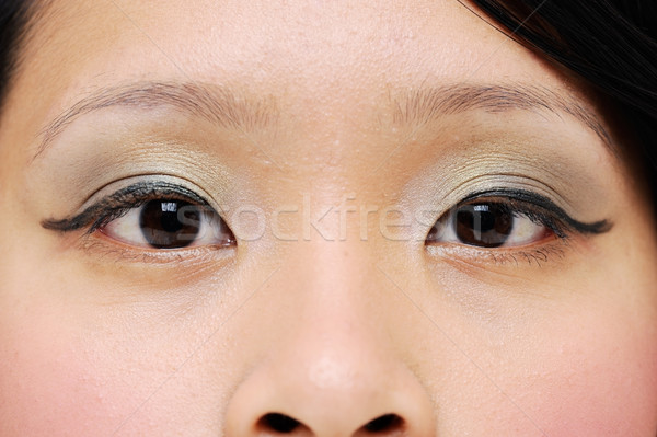 Lányok szemek ázsiai közelkép smink divat Stock fotó © KMWPhotography