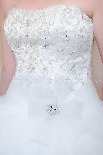 Menyasszonyok ruha részlet közelkép fehér ruha esküvő Stock fotó © KMWPhotography