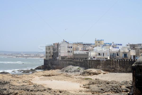 Marokkó város város falak víz tenger Stock fotó © KMWPhotography