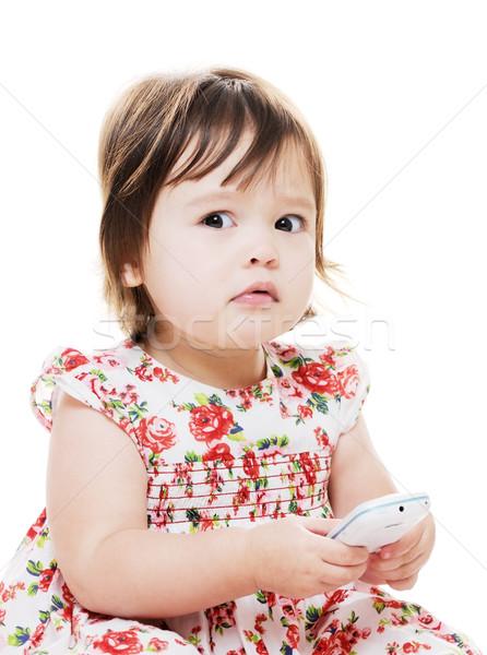 Lány külső aggódó kislány sms chat mobil Stock fotó © KMWPhotography