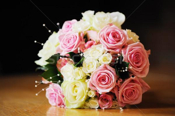 Pembe beyaz buket gelinler beyaz çiçekler düğün Stok fotoğraf © KMWPhotography