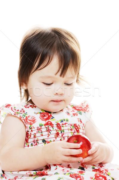 Tart piros alma kislány közelkép portré baba Stock fotó © KMWPhotography