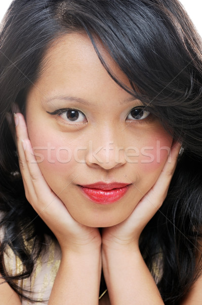 Asian vrouwelijke schoonheid gezicht tonen Stockfoto © KMWPhotography