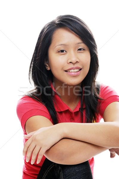 ázsiai nő lány visel piros néz Stock fotó © KMWPhotography