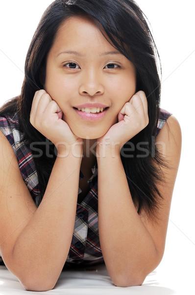 девушки расслабляющая азиатских глядя счастливым Сток-фото © KMWPhotography