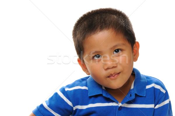 Asian garçon Rechercher méchant bleu Photo stock © KMWPhotography