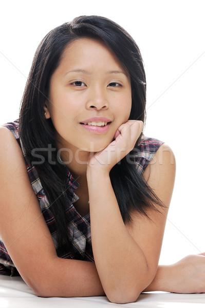Poz kız Asya bayan bakıyor mutlu Stok fotoğraf © KMWPhotography