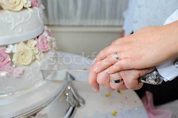 ストックフォト: 花嫁 · 新郎 · カット · ケーキ