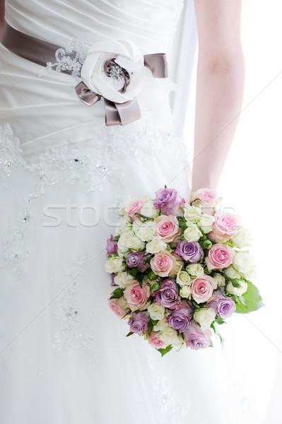Menyasszonyok virágok ruha részlet virágcsokor esküvő Stock fotó © KMWPhotography