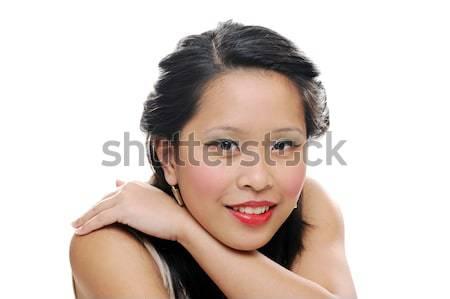Kız Asya bakıyor gülen Stok fotoğraf © KMWPhotography