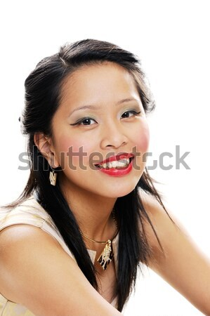 Mosolyog tinédzser ázsiai tinilány néz boldog Stock fotó © KMWPhotography