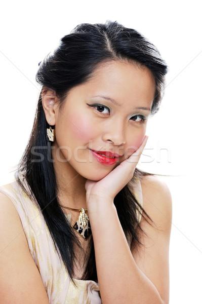 Portre bayan Asya kadın poz gülen Stok fotoğraf © KMWPhotography
