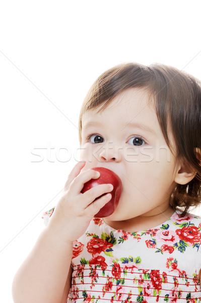 Lány alma közelkép portré fiatal lány eszik Stock fotó © KMWPhotography