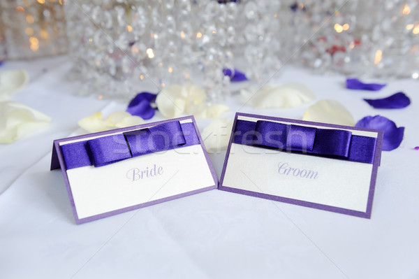 Bride and groom place cards Stock photo © KMWPhotography