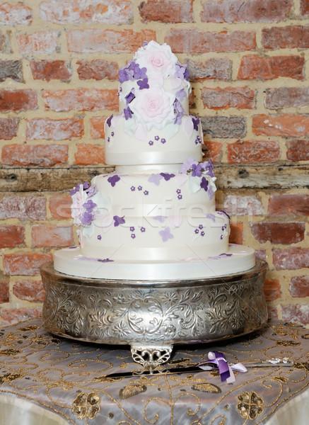 Esküvői torta kés asztal recepció mutat részletek Stock fotó © KMWPhotography