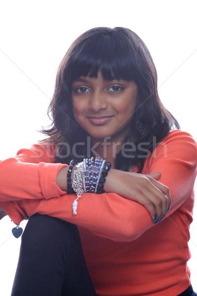 Fiatal ázsiai lány komoly indiai külső Stock fotó © KMWPhotography