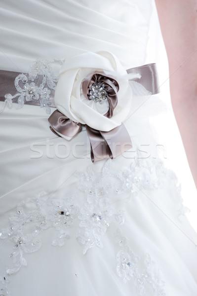 Menyasszonyok ruha részlet közelkép virágmintás esküvő Stock fotó © KMWPhotography