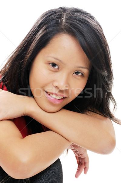 Asya kız poz mutlu kadın Stok fotoğraf © KMWPhotography