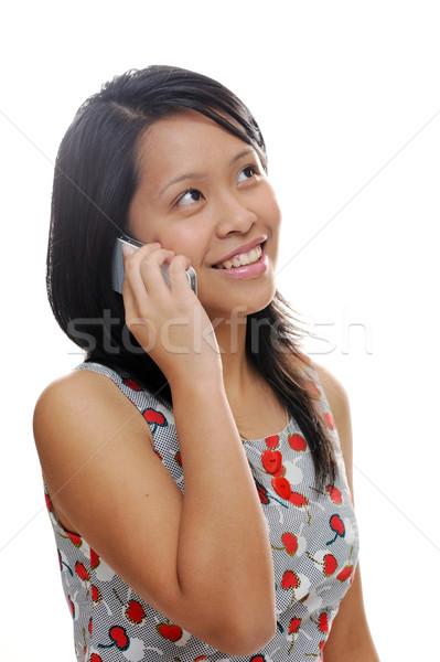 девушки азиатских глядя счастливым говорить Сток-фото © KMWPhotography