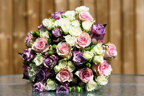 Menyasszonyok színes virágcsokor közelkép virágok esküvő Stock fotó © KMWPhotography