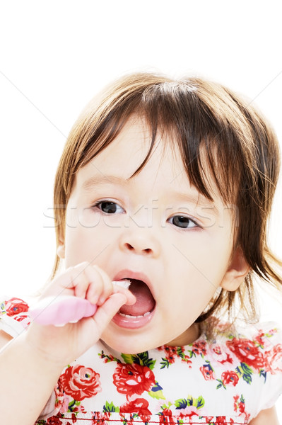 Stock foto: Säugling · Zähne · junge · Mädchen · Porträt