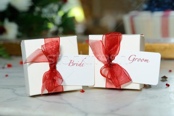 Gelin damat süslemeleri dekoratif kutuları Stok fotoğraf © KMWPhotography