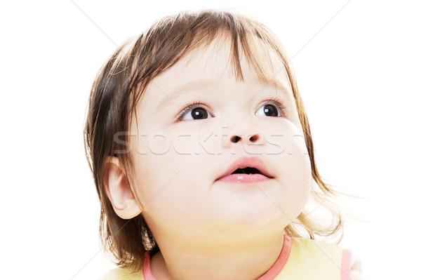 Küçük kız şaşkınlık sevimli genç kız portre Stok fotoğraf © KMWPhotography