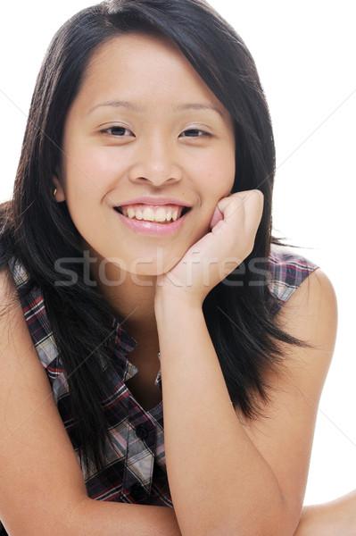 Gelukkig asian meisje dame naar glimlachend Stockfoto © KMWPhotography