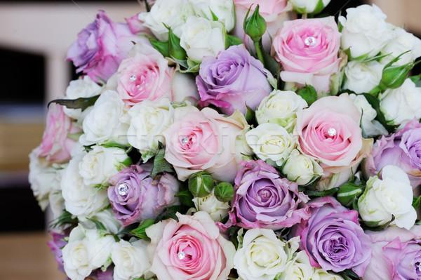 Gelinler buket çiçekler düğün gün pembe Stok fotoğraf © KMWPhotography