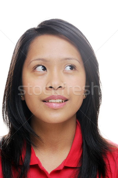 Asya kız portre kırmızı gülen Stok fotoğraf © KMWPhotography