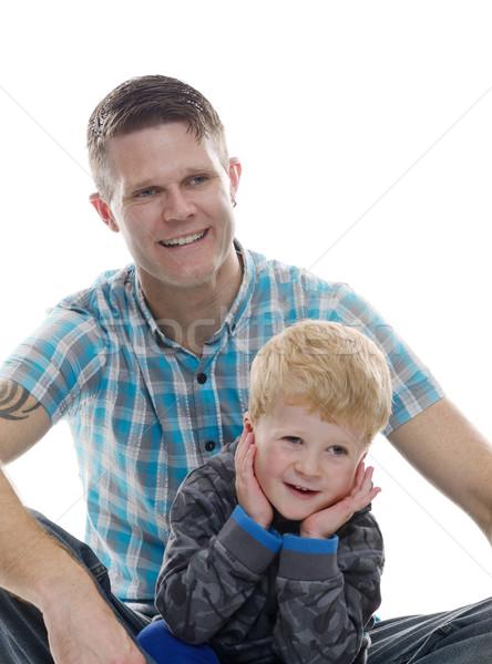 Apa fia pózol mosolyog néz boldog együtt Stock fotó © KMWPhotography