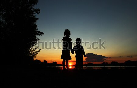 силуэта пару любви закат женщину пляж Сток-фото © koca777