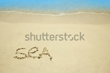 Mot mer sable plage eau amour Photo stock © koca777