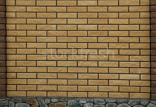 Tuğla duvar yeni doku sokak arka plan turuncu Stok fotoğraf © koca777