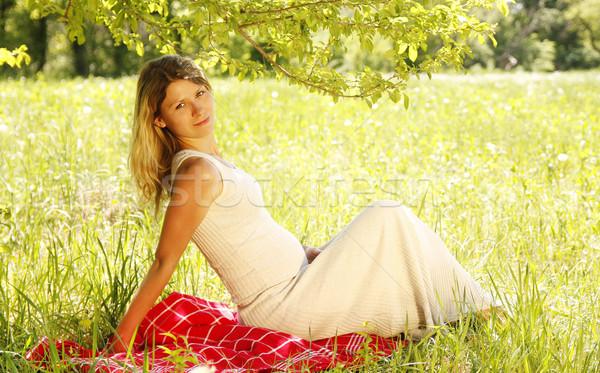 живота беременная женщина природы женщину трава человека Сток-фото © koca777