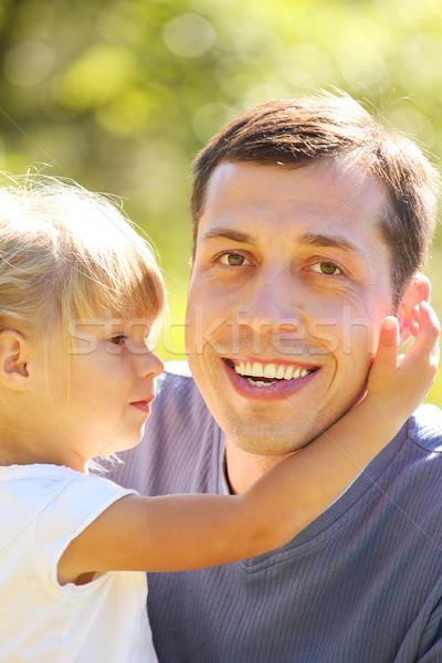 Foto stock: Padre · pequeño · hija · naturaleza · jóvenes · ninos
