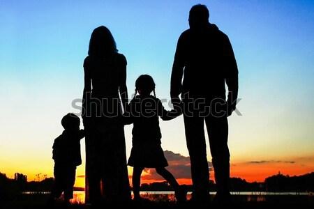 силуэта счастливая семья детей семьи счастливым природы Сток-фото © koca777