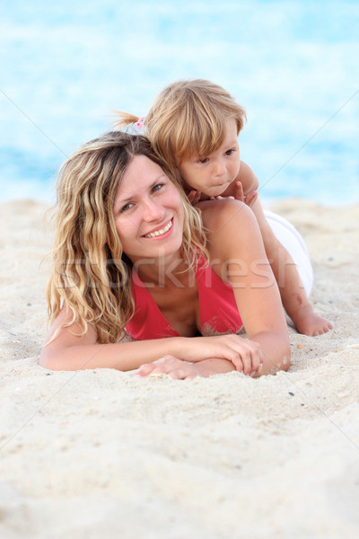 Mother and daughter on the banks of the sea Stock photo © koca777