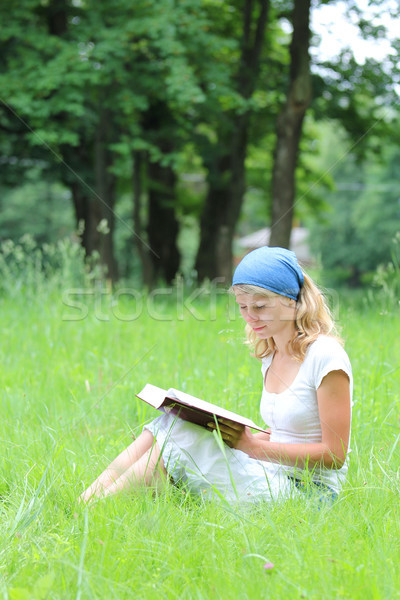 young girl reads the Bible Stock photo © koca777