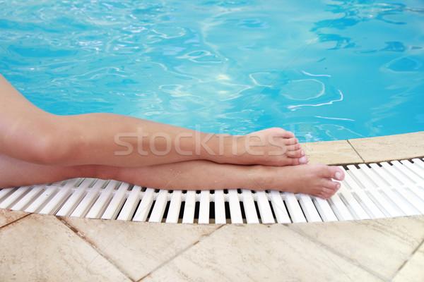 Homme jambes eau piscine homme mode Photo stock © koca777