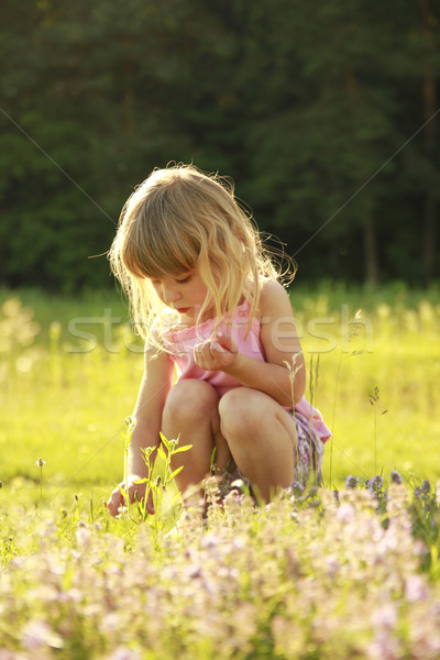 Hermosa nina jugando naturaleza familia bebé Foto stock © koca777