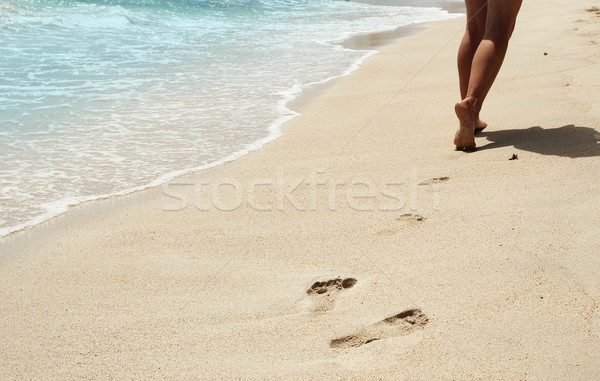 Stock photo: footprints in the sand on the beach