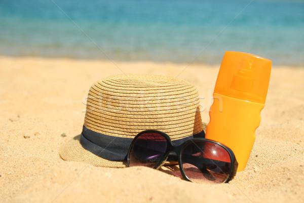 лет Hat очки кремом древесины Сток-фото © koca777