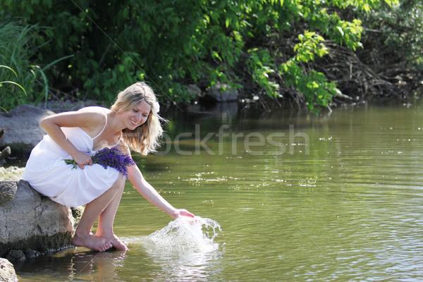 girl squirting water at the lake Stock photo © koca777