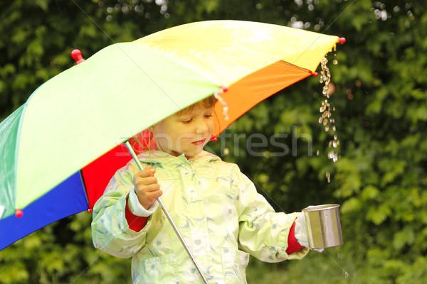 Kız şemsiye yağmur küçük kız su bahar Stok fotoğraf © koca777
