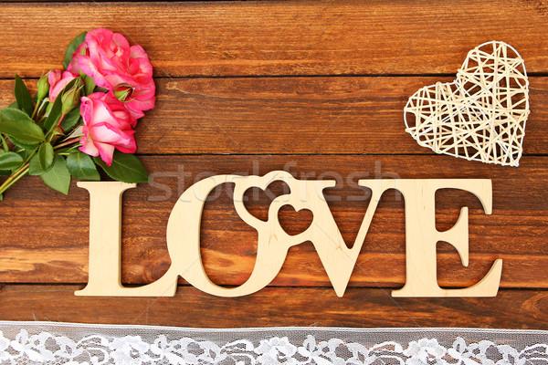 Kelime sevmek kalp güller sevgililer günü çiçek Stok fotoğraf © koca777