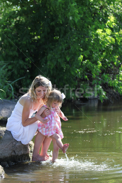 mother  and her little daughter squirting water at the lake Stock photo © koca777