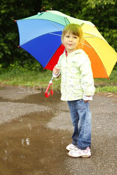 Little girl guarda-chuva chuva água menina primavera Foto stock © koca777